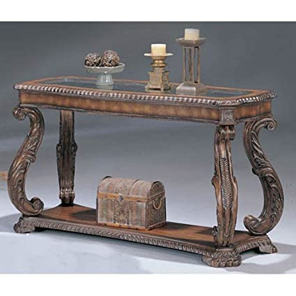 Sofa Table With Hand Carved Leaf In Antique Finish