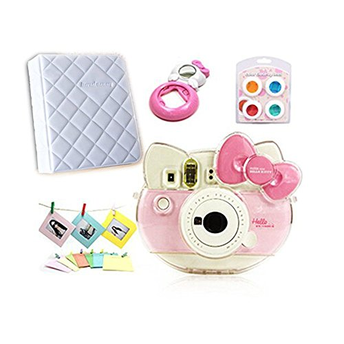 CLOVER Accessory Bundles Set (Crystal Case / Album/ Close-Up Lens/ Filter) For Fujifilm Instax Mini KT Instant Camera