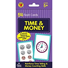 Carson Dellosa - Time and Money Flash Cards - 54 Cards for Telling Time on Digital and Analog Clocks, Counting Money, Reading Numbers, Ages 5 and up