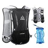TRIWONDER Hydration Pack Backpack 5L Marathoner Running Race Hydration Vest (Black - with 1.5L Water Bladder)