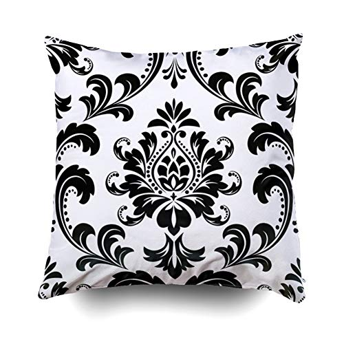 (Pamime Square Throw Damask Floral Pattern Royal Flowers Black White Background a Pillow Case Cover Decorative Cushion for Home 16X16Inches(40X40cm) Pillowcase)