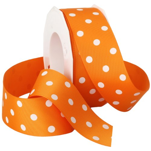 Morex Grosgrain Dot Ribbon, 1-1/2-Inch by 20-Yard Spool, Tangerine with White - Dotted Ribbon