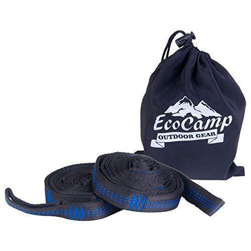 EcoCamp OUTDOOR GEAR Tree Straps – XL Hammock Straps – Each Strap is 10FT, 18 + 1 Loops, 1000 LBS – Unyielding and Enduring XL Hammock Tree Straps- Long, No Stretch, Heavy Duty Outdoor Tree Stra