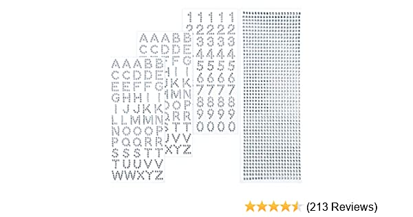 Silver Konsait Grad Cap Decoration Set Peel and Stick Glitter Alphabet Letter Stickers and Number Sticker Gemstone Border Stickers for Graduation Cap Accessory School Leavers Book or Handicraft Art