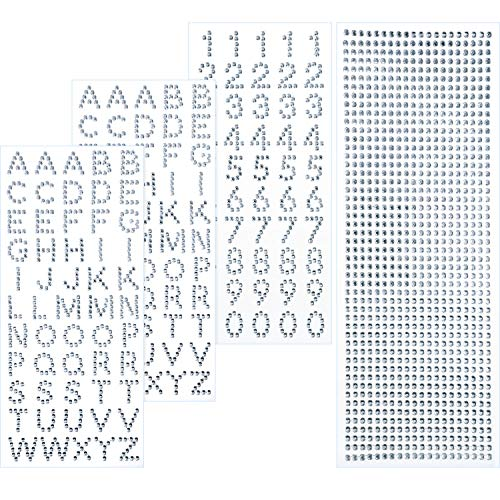 - Blulu Grad Cap Decoration Set Glitter Alphabet Letter Stickers and Gemstone Border Stickers for Graduation Cap and Other Handicraft Art (Silver)