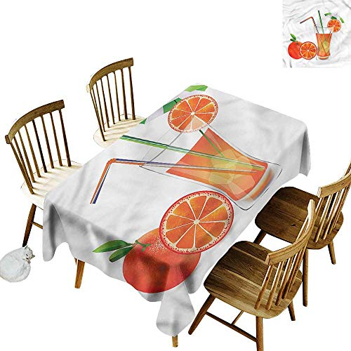 Washable Tablecloth Green and Orange Orange Juice Glass Party Decorations Table Cover Cloth 60
