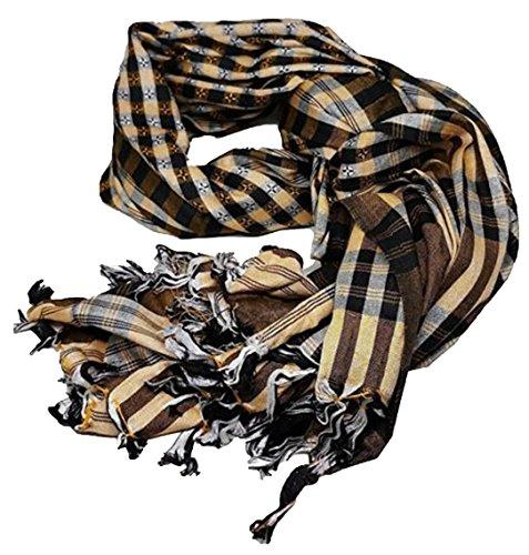 Muslim Shemagh Scarf Arab Tactical Desert Keffiyeh Wrap Collar Head Shawl Turban (Orange)