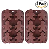 2-Pack Christmas Gingerbread Man Molds - MoldFun Silicone Mold for Baking Gingerbread Cake Muffin Cookie, Making Chocolates Ice Cubes Jello Shots Soaps Lotion Bar Bath Bomb (Random Color)