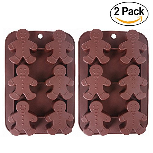 Gingerbread Cakes (2-Pack Christmas Gingerbread Man Molds - MoldFun Silicone Mold for Baking Gingerbread Cake Muffin Cookie, Making Chocolates Ice Cubes Jello Shots Soaps Lotion Bar Bath Bomb (Random Color))