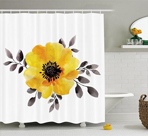 Ambesonne Flower Decor Shower Curtain, Watercolored Image of Single Flower and Leaves Abstract Design Modern Art, Fabric Bathroom Decor Set with Hooks, 84 Inches Extra Long, Yellow and Grey ()
