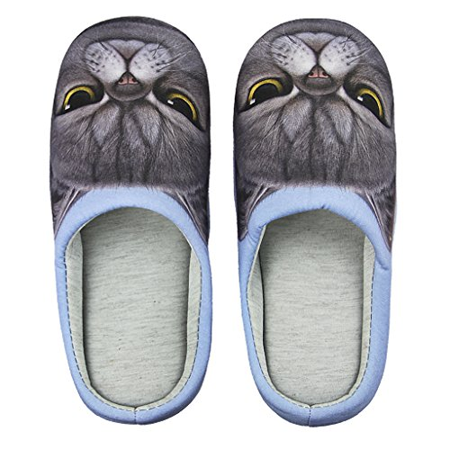 Fakeface Womens Mens Indoor Warm Fleece Slippers, Cute Cartoon Winter Soft Fuzzy Slip-on Slipper Booties Non-slip Rubber Sole Cozy Plush Mules Home Bedroom Slide Shoes Ankle Boots Thermal House Slippe Navy, Grumpy Cat
