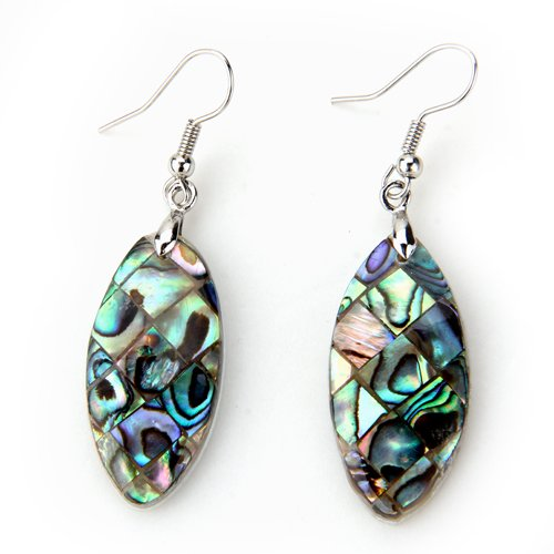 Oval Paua Shell (Ecloud ShopUS 1 Pair Oval Abalone Paua Shell Dangle Earrings 1.3x0.6