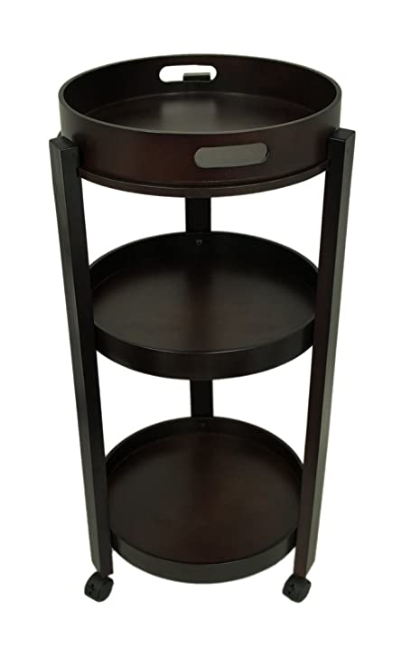 Genial Wood Accent Tables Elegant 3 Shelf Round Wooden Rolling Beverage Cart  W/Removable Tray 17