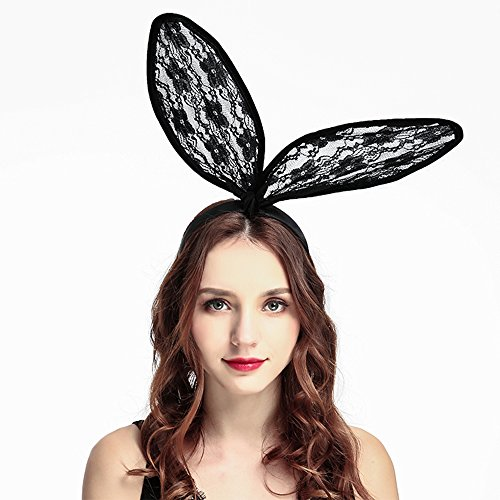 Lace Bunny Ear Headbands Masquerade Hair Hoops for Costume Party Cosplay Sexy Nightclub Headpiece -