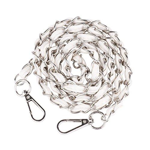 TiaoBug–Metal cadena de piel bolso bandolera bolso de mano bolso de mano bolsa de hombro correa de repuesto accesorios, Silver Metal + White PU, 125 cm Silver Metal + White PU