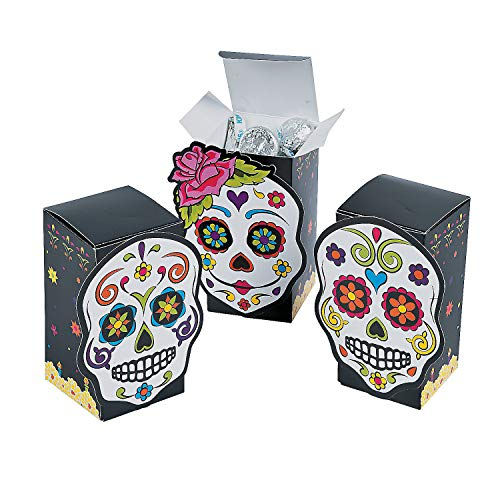 Fun Express - Day Of The Dead Favor Boxes for Halloween - Party Supplies - Containers & Boxes - Paper Boxes - Halloween - 12 -