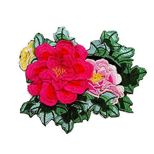 Leono Peony Cloth Stickers Denim Applique Flower Clothes Decoration 22cmx18cm