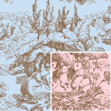 Baby Toile Gift Wrap Flat Sheet - 24in x (Toile Wrapping Paper)