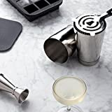 The Shaken Cocktail Set by W&P Design, Includes Silver Boston Cocktail Shaker, Hawthorne Strainer, Jigger and 12-Cube Ice Tray
