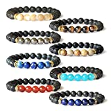 Me&Hz Solar System Eight Planets Bracelet Set Galaxy Universe Lava Gemstone Beads Bracelets 8Pcs/Set for Women Girls