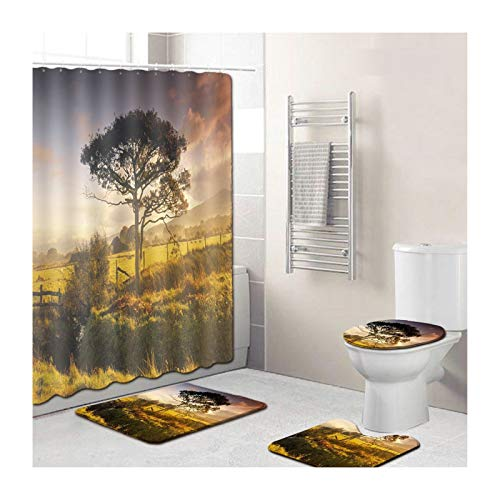 Bishilin Mat Bathroom Vanity Landscape Bathmatntoilet Cover 4Parts 45X75, Vintage Shower Curtain 180X180