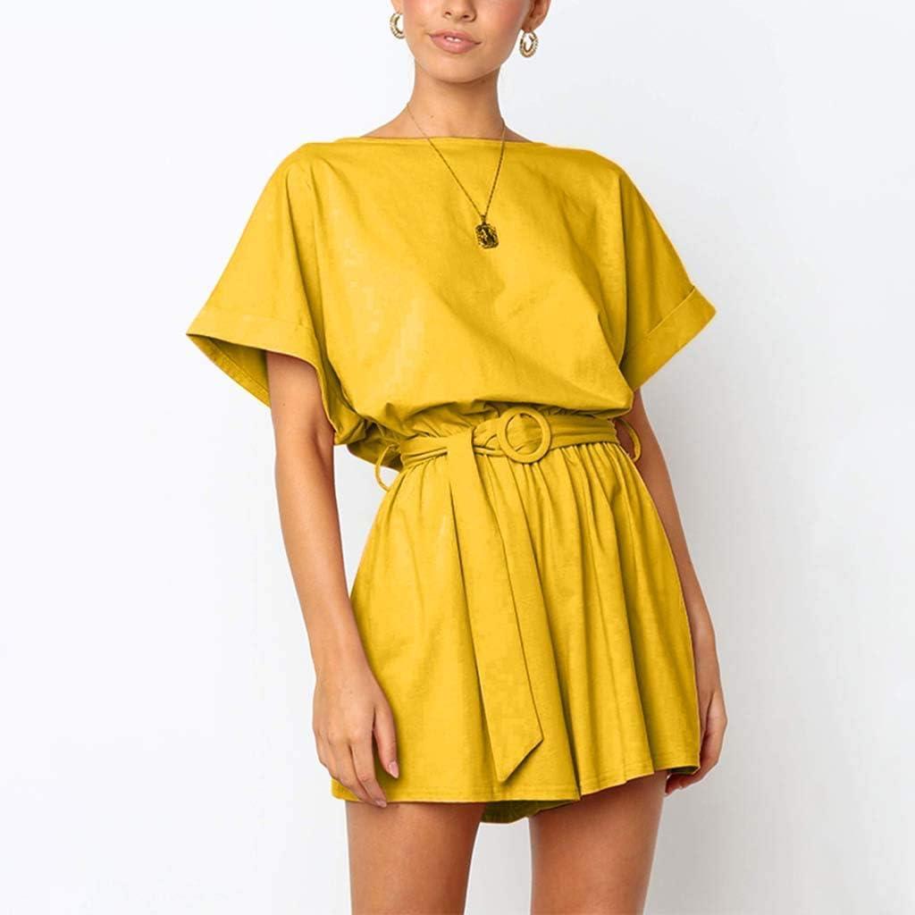 Goddessvan 2019 Women/'s Summer Solid Casual Short Sleeve High Waist Crew Neck Rompers Short Jumpsuits with Belt