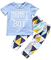 Zekky Baby Boy Mama's boy Short Sleeve Top+Pants Outfit Suit Set