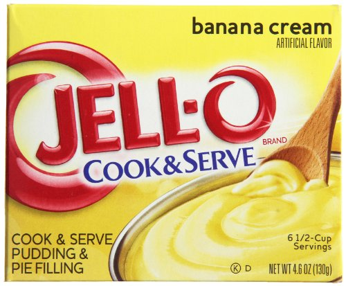 (JELL-O Cook and Serve Pudding and Pie Filling, Banana Cream, 4.6 Ounce (Pack of 24))