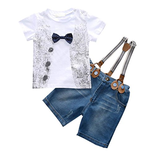 FEITONG 1Set Kids Toddler Boys Handsome T-shirt+Denim Trousers+Straps (4 Years, White)