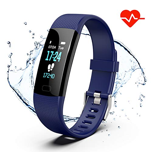 Fitness Tracker, Color Screen Activity Tracker Watch with Heart Rate Monitor, Pedometer IP67 Waterproof Sleep Monitor Step Counter for Android & iPhone (Blue) ()