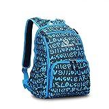 Lekebaby Large Capacity Waterproof Diaper Backpack Bag for Mom and Dad (Blue Letter)