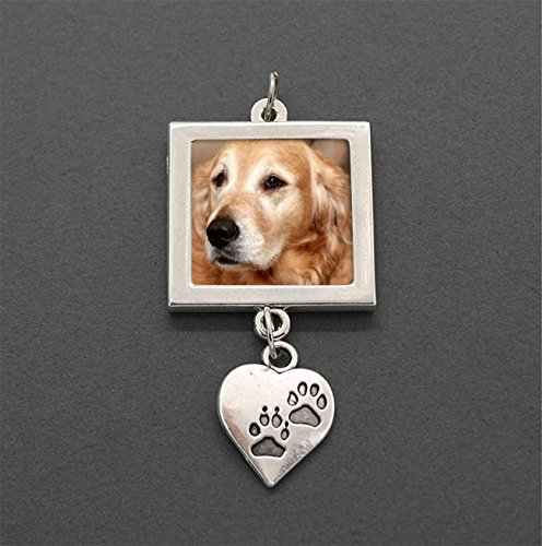 My Faithful Friend Dog Wedding Bouquet Pet Photo Charm with Dangling Paw ()