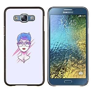 Qstar Arte & diseño plástico duro Fundas Cover Cubre Hard Case Cover para Samsung Galaxy E7 E700 (Rosa Mujer)