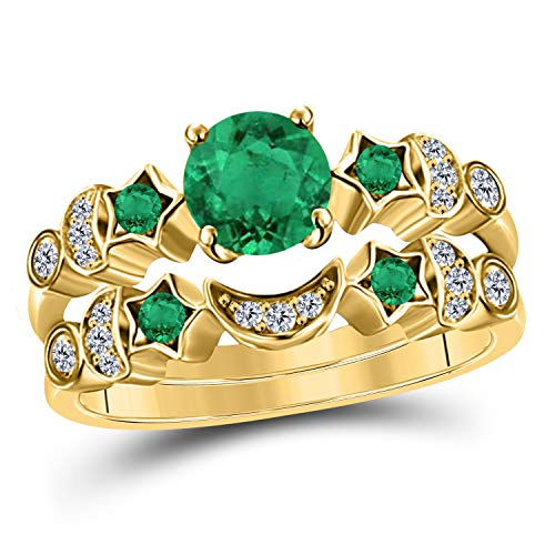 (1.50 ct Round Cut CZ Green Emerald 14k Yellow Gold Plated Moon and Star Wedding Engagement Bridal Set Rings for Her)