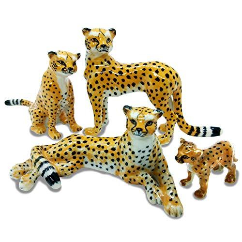 4 Cheetah Tiger Family SET Ceramic Pottery Statue Miniature Animal Figurine Hand Painted ()