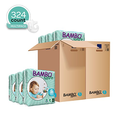 Bambo Nature Eco Friendly Baby Diapers Classic for Sensitive Skin, Size 5 (26-49 lbs), 324 Count (2 Cases of 162), Off…