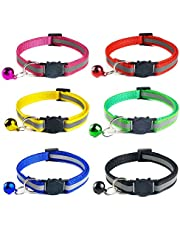 6 PACK Reflective Cat Collars Safety Quick Release with Bell- Adjustable 19-32cm