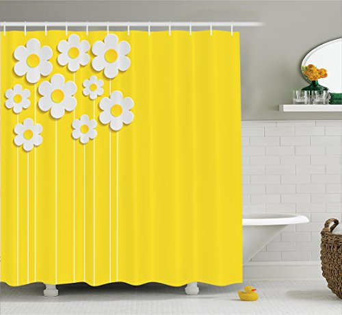 Ambesonne Yellow Decor Shower Curtain Set, Spring Flowers Daisy Pattern On Clean Background Blossom Meadow Scenic Art Print, Bathroom Accessories, 69W X 70L Inches, Yellow White