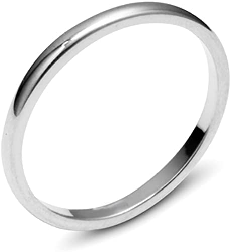 2mm Plain Solid Domed 14K White Gold Ring Sizes 5 to 12 His /& Hers Wedding Band