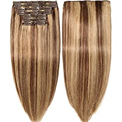 s-noilite Clip in Human Hair Extensions 100% Real Remy Thick True Double Weft Full Head 8 Pieces 18 clips Straight silky (18 inch - 140g,Medium Brown/Dark Blonde (#4/27))