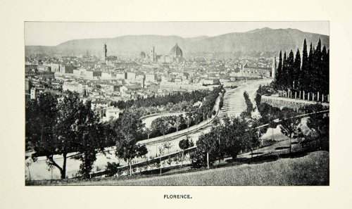 1884 Print Florence Historical Cityscape Italy View Hilltop Dome Cathedral Road - Original Halftone Print by...