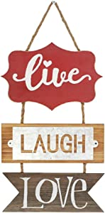 Live Laugh Love Wood Plank Hanging Sign for Christmas,Decorative Wall Decor Wall Art,Vintage Wood Sign for Home Decor
