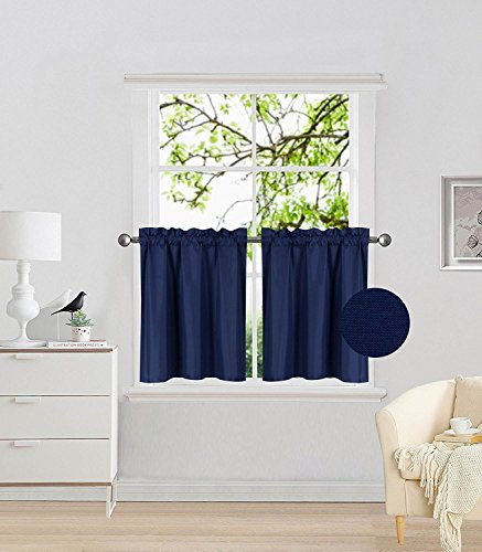 Fancy Collection 2 Panel Navy Blue Bedroom Curtains Blackout Draperies Thermal Insulated Solid Rod Pocket Top Drapes for Kid's Room, Bathroom, Kitchen Privacy Window Dressing New -