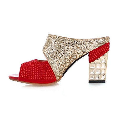 AdeeSu - Zapatillas de estar por casa para mujer Red