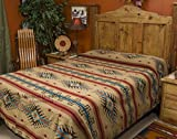 Mission Del Rey's Southwest Bedding Isleta Collection -Reversible Bedspread -Queen Size 88''x96'' Tan & Brown