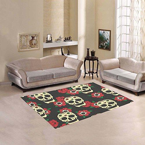 Happy More Custom Mexican Skulls Area Rug Indoor/Outdoor Decorative Floor Rug by InterestPrint