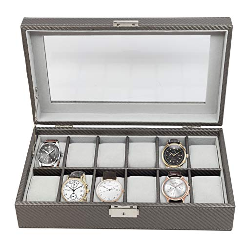 (12 Piece Pewter Carbon Fiber Watch Display Case Men's or Ladies Watch Box Jewelry Glass Top)
