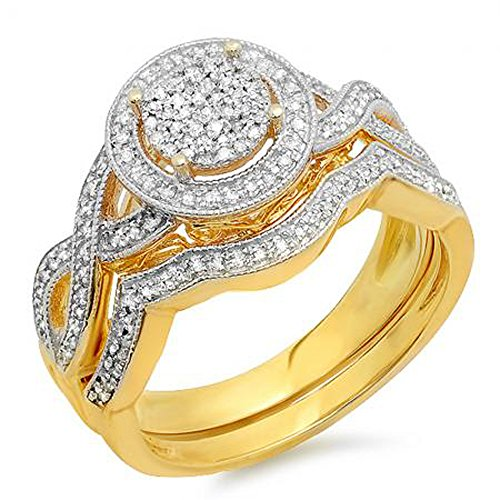 Dazzlingrock Collection 0.50 Carat (ctw) 18K Yellow Gold Plated Sterling Silver Round Diamond Ladies Micro Pave Engagement Ring Set 1/2 CT, Size 6
