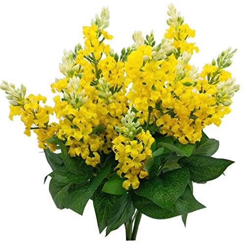 Artificial Fake Flowers Silk Plastic Plant Arrangement for Home Indoor Outdoor Garden Wedding Table Vase Decorations Faux Snapdragon Flower,3 Bouquets (Yellow)