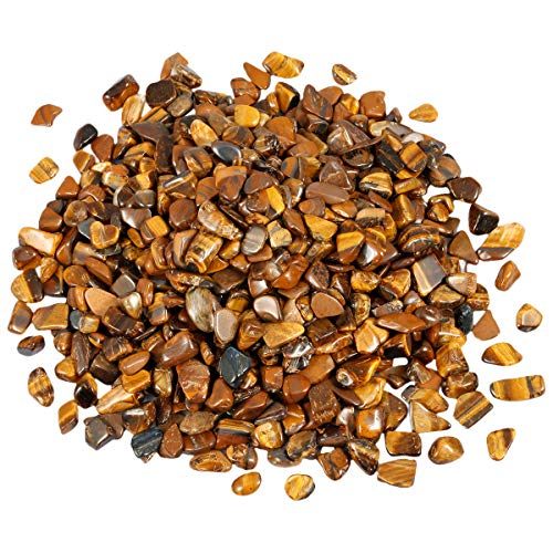 (mookaitedecor 1 lb Tumbled Chip Stones Crushed Tumblestone Crystals Healing Home Decoration,Tiger's Eye)